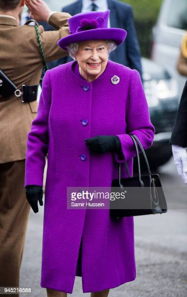 Queen Elizabeth II visits the King George VI Day Centre on April 12 2018 in Windsor England The Queen toured the facility and met some of the local...
