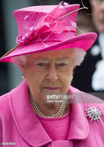 Queen Elizabeth II visits the Metroline Tramline Extension on November 19 2015 in Birmingham England
