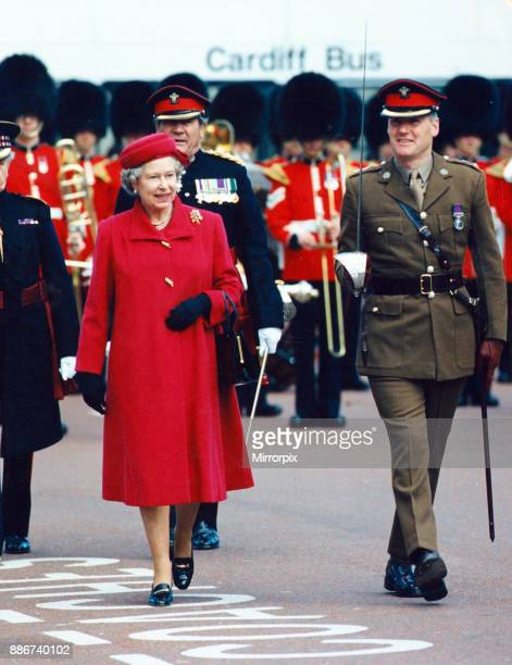 Queen Elizabeth II visits the National Museum The Queen inspects the 1st regiment Royal Regiment of Wales 15th October 1993