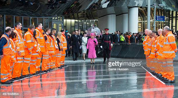 Queen Elizabeth II visits the newly redeveloped Birmingham New Street Station on November 19 2015 in Birmingham England