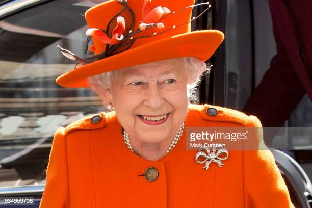 Queen Elizabeth II visits the Royal Academy of Arts to mark the completion of a major redevelopment of the site on March 20 2018 in London England