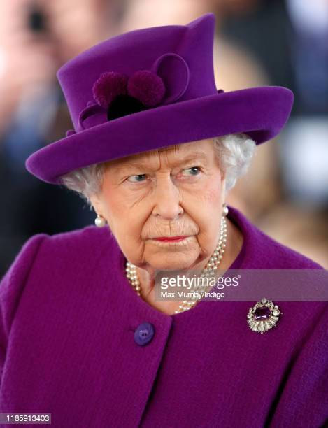 Queen Elizabeth II visits the Royal British Legion Industries village to celebrate the charity's centenary year on November 6, 2019 in Aylesford,...