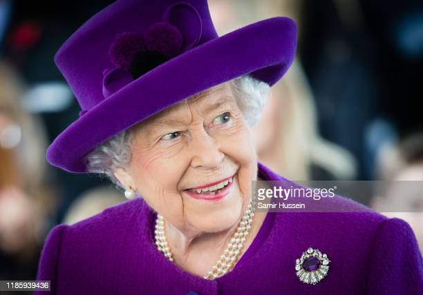 Queen Elizabeth II visits the Royal British Legion Industries village to celebrate the charity's centenary year on November 06, 2019 in Aylesford,...
