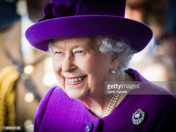 Queen Elizabeth II visits the Royal British Legion Industries village to celebrate the charity's centenary year on November 06 2019 in Aylesford...