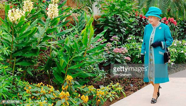 Queen Elizabeth II visits the Royal Horticultural Society Garden at Wisley Flower Show in Surrey where she officially opened The Glasshouse in...