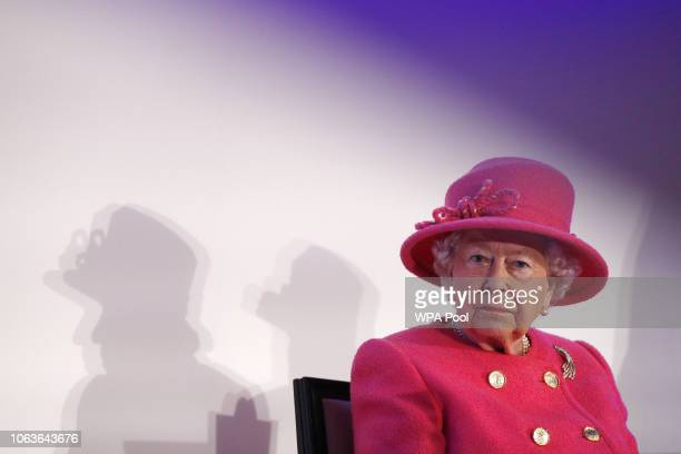 Queen Elizabeth II visits the Royal Insitute of Chartered Surveyors to mark its 150th anniversary on November 20 2018 in London England