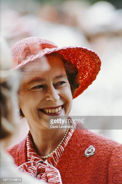 Queen Elizabeth II visits the Royal Military Police Training Centre in Chichester Sussex 28th July 1982