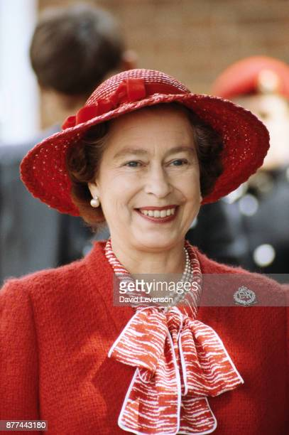 Queen Elizabeth II visits the Royal Military Police Training Centre in Chichester Sussex on July 28 1982