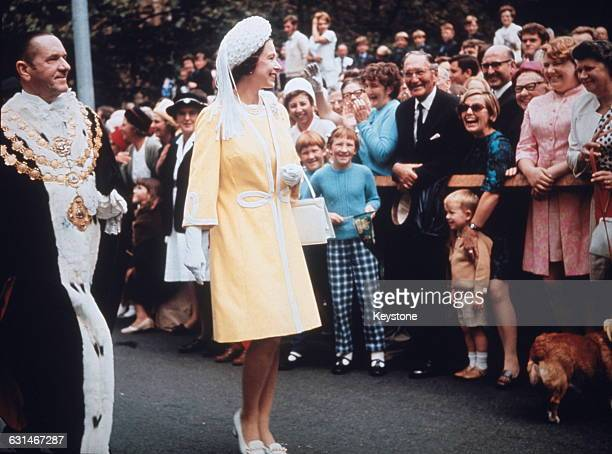 Queen Elizabeth II visits the Town Hall in Sydney with Emmet McDermott Lord Mayor of Sydney during her tour of Australia May 1970 She is there in...