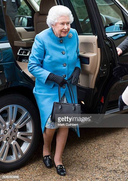 Queen Elizabeth II visits the Womans Institute at West Newton Village Hall on January 21, 2016 in King's Lynn, England.