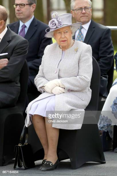 Queen Elizabeth II visits the ZSL Whipsnade Zoo at the Elephant Centre on April 11 2017 in Dunstable United Kingdom The Queen and The Duke will meet...