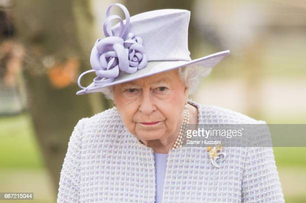 Queen Elizabeth II visits the ZSL Whipsnade Zoo at the Elephant Centre on April 11 2017 in Dunstable United Kingdom