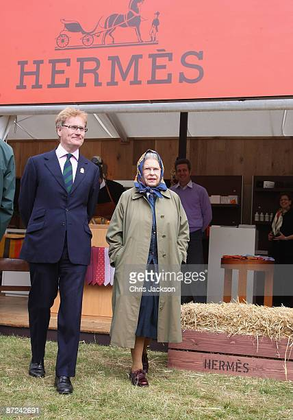 Queen Elizabeth II visits trade stands as she attends the Royal Windsor Horse Show 2009 on May 15 2009 in Windsor England
