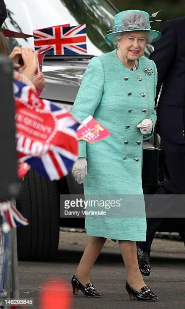 Queen Elizabeth II visits Vernon Park during a Diamond Jubilee visit to Nottingham on June 13, 2012 in Nottingham, England.