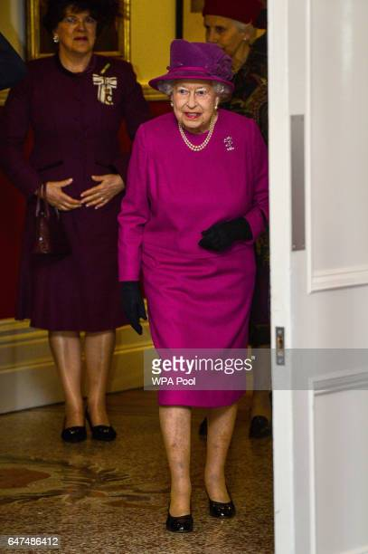 Queen Elizabeth II visitsThe Royal Welsh Regimental Family to mark St David's Day at Lucknow Barracks on March 3 2017 in Tidworth England