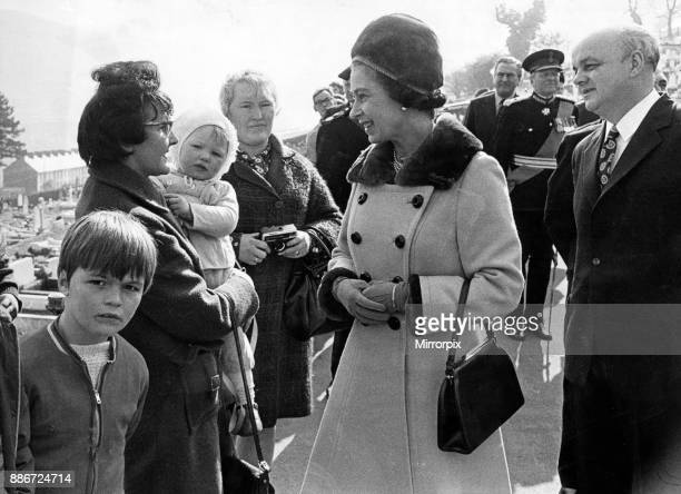 Queen Elizabeth II vists Aberfan and meets Mrs Winnie Mumford who lost two sons in the tragedy 9th March 1973