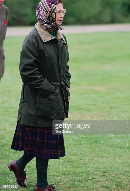 Queen Elizabeth II walking in Windsor Great Park.