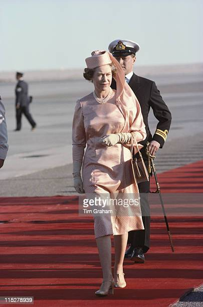 Queen Elizabeth II walking the red carpet on her arrival during the her tour of the Gulf States in Kuwait 15 February 1979
