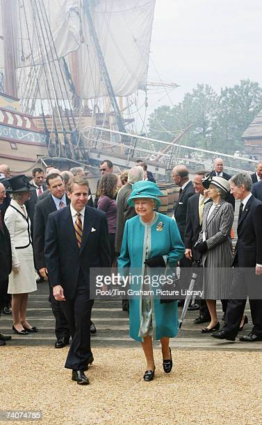 Queen Elizabeth II walks in front of the replica ship the Susan Constant as she tours Jamestown on May 4 2007 in Richmond Virginia This is the second...