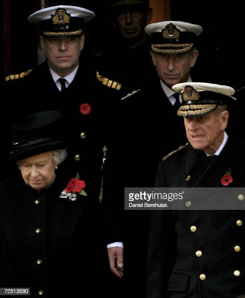 Queen Elizabeth II walks out with Prince Phillip Duke of Edinburgh followed by Prince Andrew Duke of York and Prince Charles Prince of Wales during...