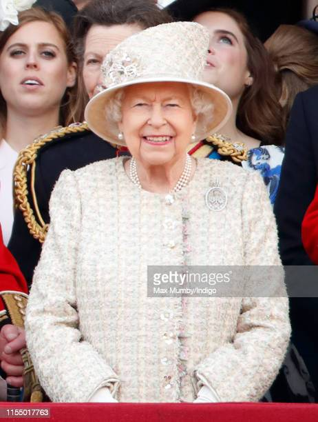 Queen Elizabeth II watches a flypast from the balcony of Buckingham Palace during Trooping The Colour, the Queen's annual birthday parade, on June 8,...