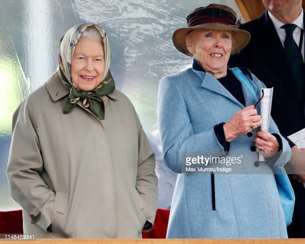 Queen Elizabeth II watches her horse 'Balmoral Mandarin' compete in the BSPS Ridden Mountain and Moorland class on day 4 of the Royal Windsor Horse...