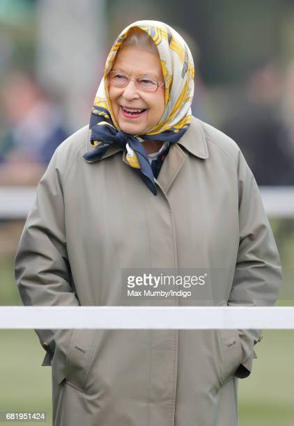 Queen Elizabeth II watches her horse 'Barber's Shop' win The Tattersalls and RoR Thoroughbred Ridden Show Series Championship on day 2 of the Royal...