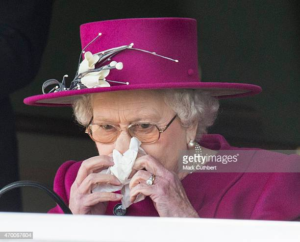 """Queen Elizabeth II watches her horse """"Ring of Truth"""" in Race 2 at the Dubai Duty Free Spring Trials Meeting at Newbury Racecourse on April 17, 2015..."""