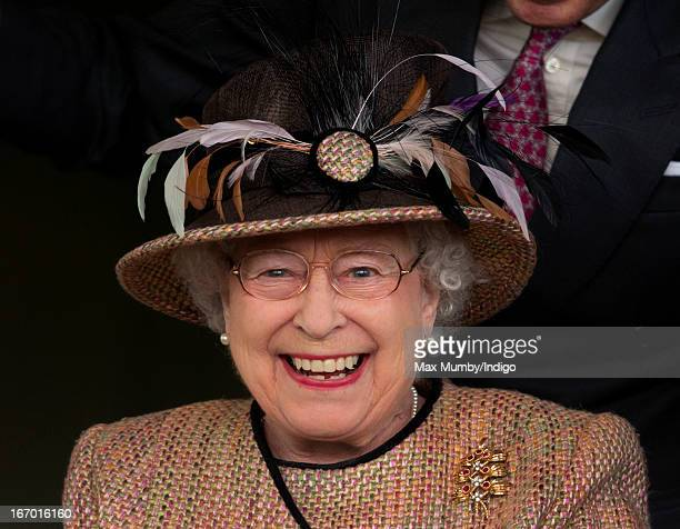 Queen Elizabeth II watches her horse 'Sign Manual' win the Dreweatts Handicap Stakes as she attends the Dubai Duty Free Raceday at Newbury Racecourse...