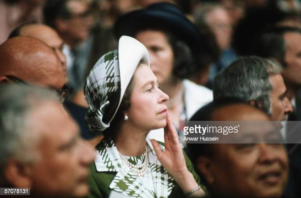 Queen Elizabeth II watches the 1976 Summer Olympics on July 23 1976 in Montreal Canada