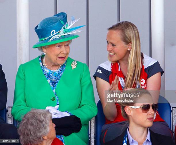 Queen Elizabeth II watches the England vs Wales women's hockey match at the Glasgow National Hockey Centre during day one of 20th Commonwealth Games...