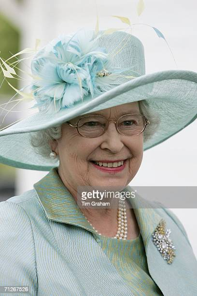 Queen Elizabeth II watches the GCC Polo Cup match at Guards's Polo Club on June 21, 2006 in Windsor, England.