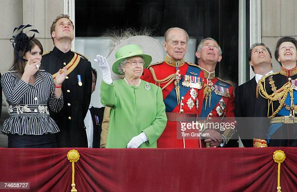 Queen Elizabeth II watches the RAF flypast from the balcony of Buckingham Palace with Princess Eugenie Prince William Prince Philip Duke of Edinburgh...
