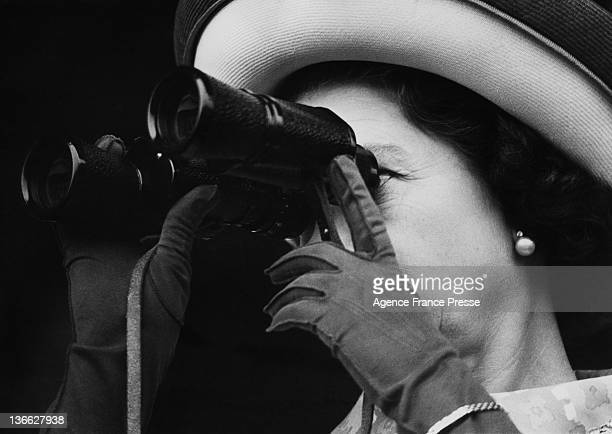 Queen Elizabeth II watching a race at Longchamp Racecourse Paris 18th April 1972