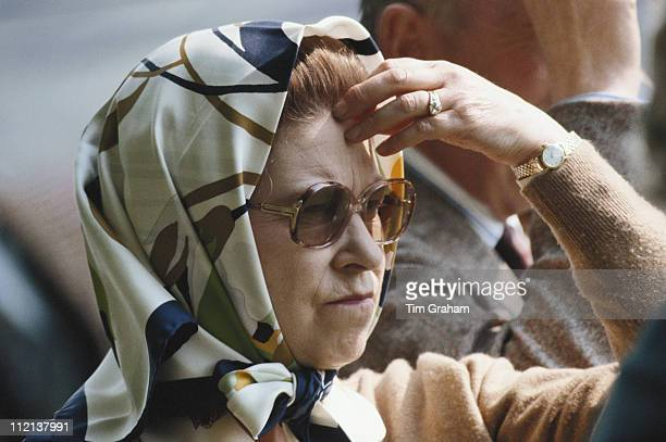 Queen Elizabeth II watching Prince Philip competing at the Royal Windsor Horse Show held at Home Park in Windsor Berkshire England Great Britain 15...