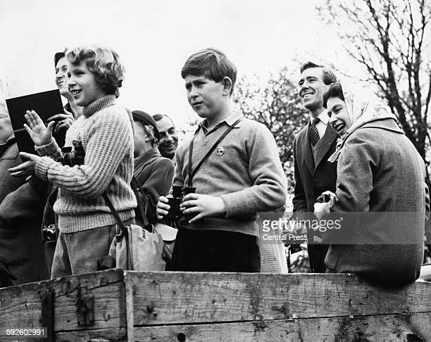 Queen Elizabeth II watching the Badminton Horse Trials with Princess Anne and Prince Charles Gloucestershire July 1971