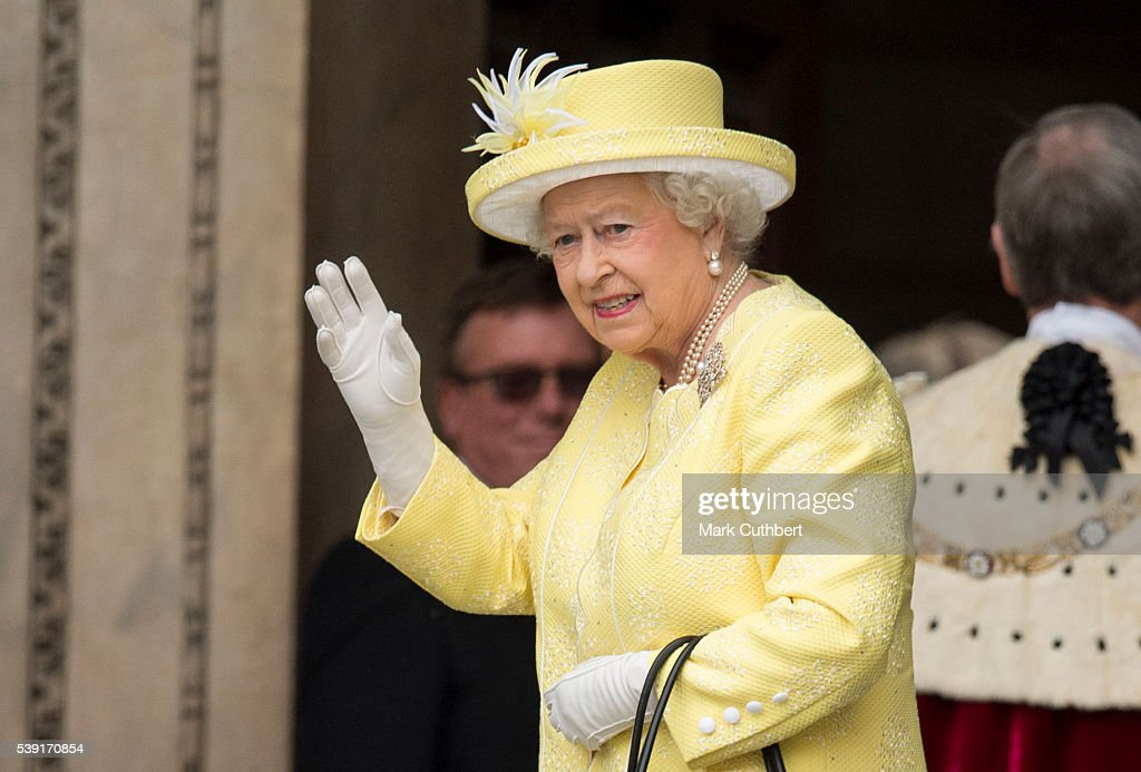 Queen Elizabeth II waves as she attends a National Service of Thanksgiving as part of the 90th birthday celebrations for The Queen at St Paul's Cathedral on June 10, 2016 in London, England.