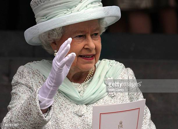 Queen Elizabeth II waves as she leaves a Service Of Thanksgiving at St Paul's Cathedral on June 5, 2012 in London, England. For only the second time...