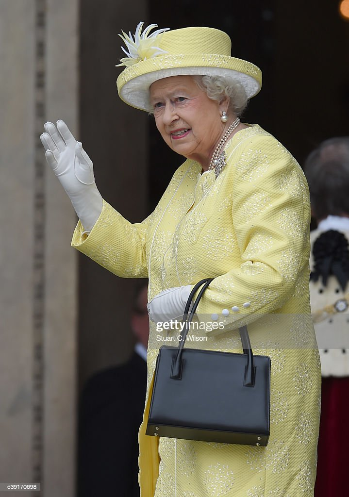 Queen Elizabeth II waves before entering a National Service of Thanksgiving as part of the 90th birthday celebrations for The Queen at St Paul's Cathedral on June 10, 2016 in London, England.