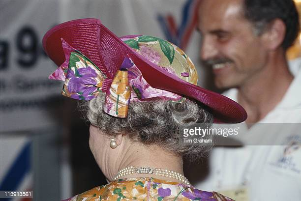 Queen Elizabeth II wearing a brightly coloured hat on a walkabout during a visit to Cyprus 21 October 1993 The Queen is on an official visit to...