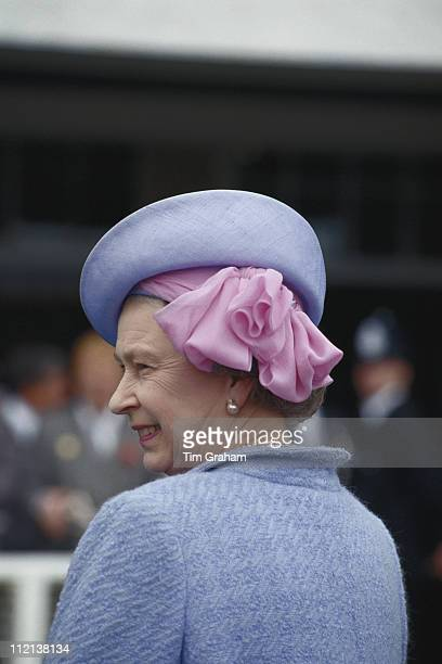 Queen Elizabeth II wearing a hat by milliner Frederick Fox at the Derby meeting at Epsom racecourse in Epsom Surrey England Great Britain 5 June 1991