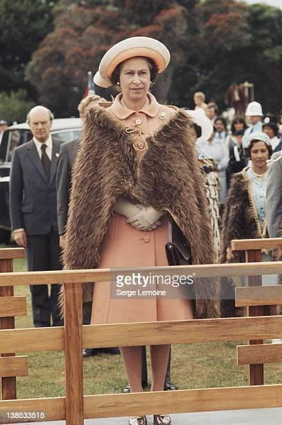 Queen Elizabeth II wearing a Maori cloak during her royal tour of New Zealand February 1977