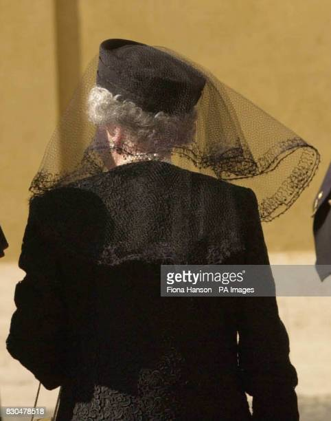 Queen Elizabeth II wearing a pillbox hat and veil as she arrives at the Vatican on the second day of the state visit to Italy The Queen is visiting...