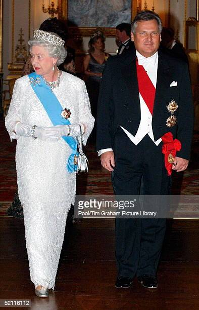 Queen Elizabeth II Wearing Decorations And Orders With Diamonds And Pearls At Buckingham Palace With The President Of Poland Aleksander Kwasniewski...