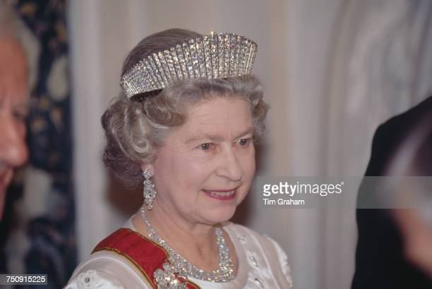 Queen Elizabeth II wearing Queen Alexandra's Kokoshnik Tiara at a state banquet in her honour at Schloss Augustusburg Bruhl Germany 19th October 1992