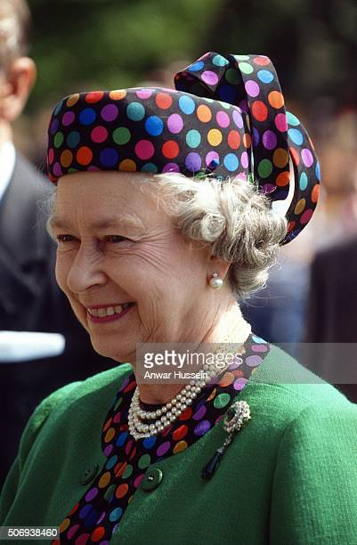 Queen Elizabeth II wears a Marie O'Regan dotted hat during a tour of Hungary on May 07 1993 in Budapest Hungary