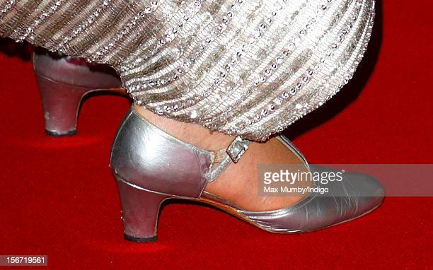 Queen Elizabeth II wears silver coloured evening shoes as she attends the Royal Variety Performance in the 100th anniversary year at the Royal Albert...