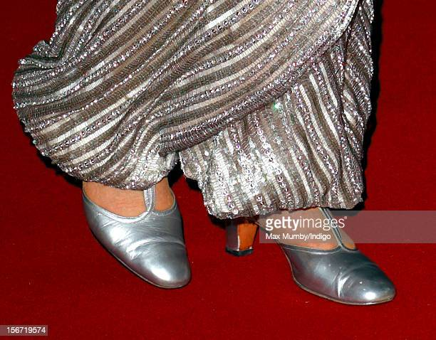 Queen Elizabeth II wears silver coloured evening shoes as she attends the Royal Variety Performance, in the 100th anniversary year, at the Royal...