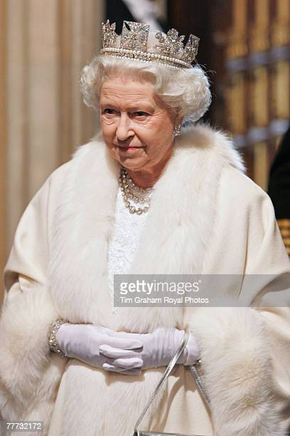 Queen Elizabeth II wears the Diamond Diadem made by Rundell Bridge Rundell as she arrives at the House of Lords for the State Opening of Parliament...