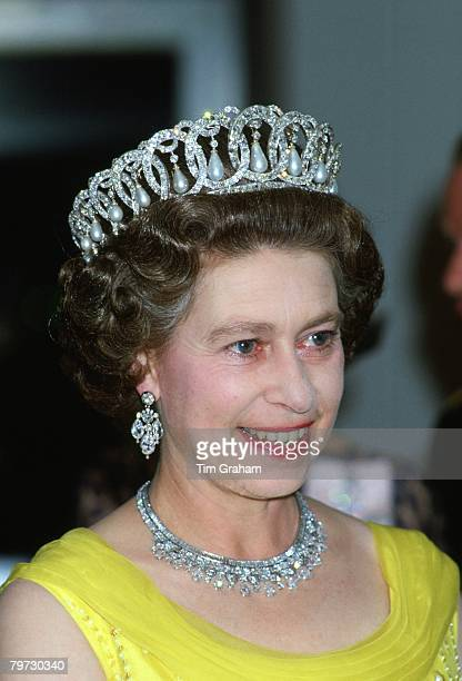 Queen Elizabeth II wears the Russian Tiara at a banquet during an official tour of Germany